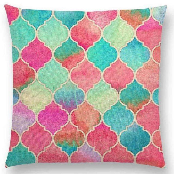 PinKart-USA Online Shopping a005217 / 45x45cm No Filling Hot Sale Gradient Rainbow Pastel Watercolor Moroccan Hexagon Pattern Colorful Gemstone Crystal Cube