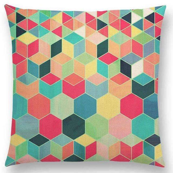 PinKart-USA Online Shopping a005220 / 45x45cm No Filling Hot Sale Gradient Rainbow Pastel Watercolor Moroccan Hexagon Pattern Colorful Gemstone Crystal Cube