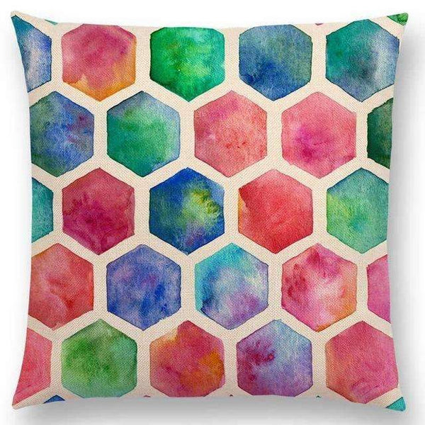 PinKart-USA Online Shopping a005223 / 45x45cm No Filling Hot Sale Gradient Rainbow Pastel Watercolor Moroccan Hexagon Pattern Colorful Gemstone Crystal Cube
