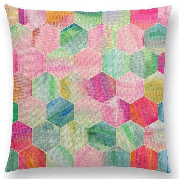 PinKart-USA Online Shopping a005225 / 45x45cm No Filling Hot Sale Gradient Rainbow Pastel Watercolor Moroccan Hexagon Pattern Colorful Gemstone Crystal Cube