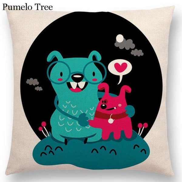 PINkart-USA Online Shopping a036802 / 45x45cm No Filling Colorful Cartoon Cute Monster True Love Fiesta Happy Summer Nature Fun Friends Smile Tea Dog