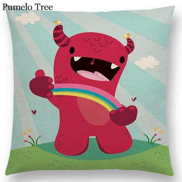 PINkart-USA Online Shopping a036804 / 45x45cm No Filling Colorful Cartoon Cute Monster True Love Fiesta Happy Summer Nature Fun Friends Smile Tea Dog