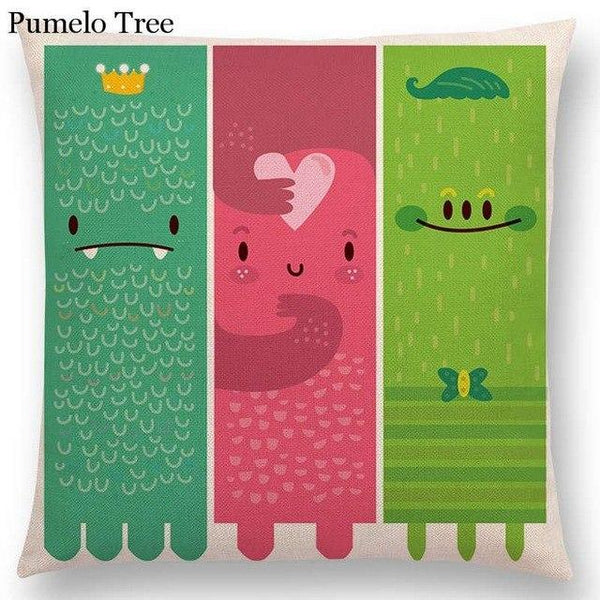 PINkart-USA Online Shopping a036807 / 45x45cm No Filling Colorful Cartoon Cute Monster True Love Fiesta Happy Summer Nature Fun Friends Smile Tea Dog