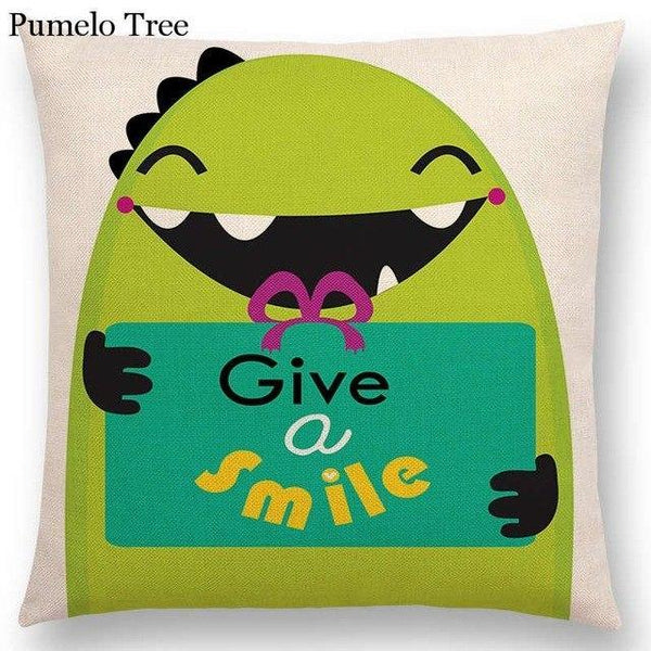 PINkart-USA Online Shopping a036809 / 45x45cm No Filling Colorful Cartoon Cute Monster True Love Fiesta Happy Summer Nature Fun Friends Smile Tea Dog