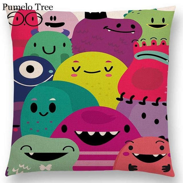 PINkart-USA Online Shopping a036816 / 45x45cm No Filling Colorful Cartoon Cute Monster True Love Fiesta Happy Summer Nature Fun Friends Smile Tea Dog