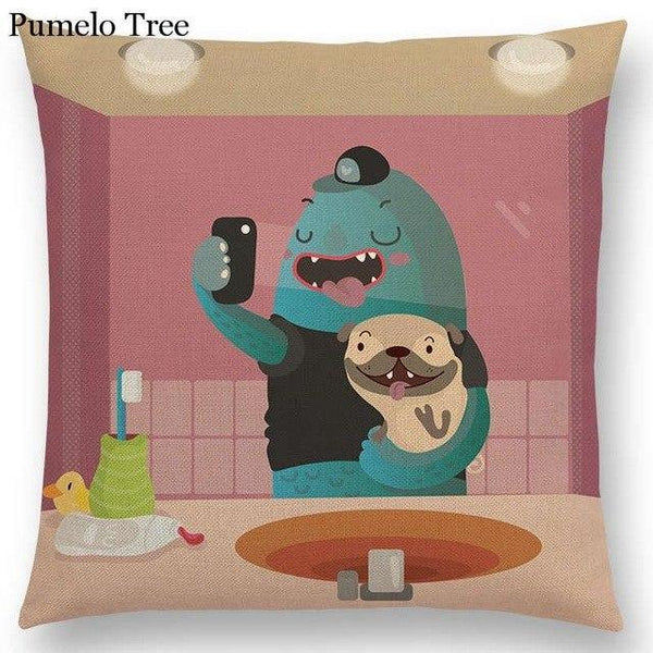 PINkart-USA Online Shopping a036819 / 45x45cm No Filling Colorful Cartoon Cute Monster True Love Fiesta Happy Summer Nature Fun Friends Smile Tea Dog