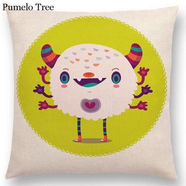 PINkart-USA Online Shopping a036824 / 45x45cm No Filling Colorful Cartoon Cute Monster True Love Fiesta Happy Summer Nature Fun Friends Smile Tea Dog