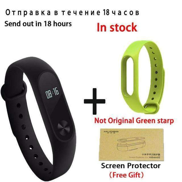 PinKart-USA Online Shopping add green starp Original Xiaomi Mi Band 2 Smart Bracelet Wristband Tracker Fitness Mi Band Oled Touchpad Sleep