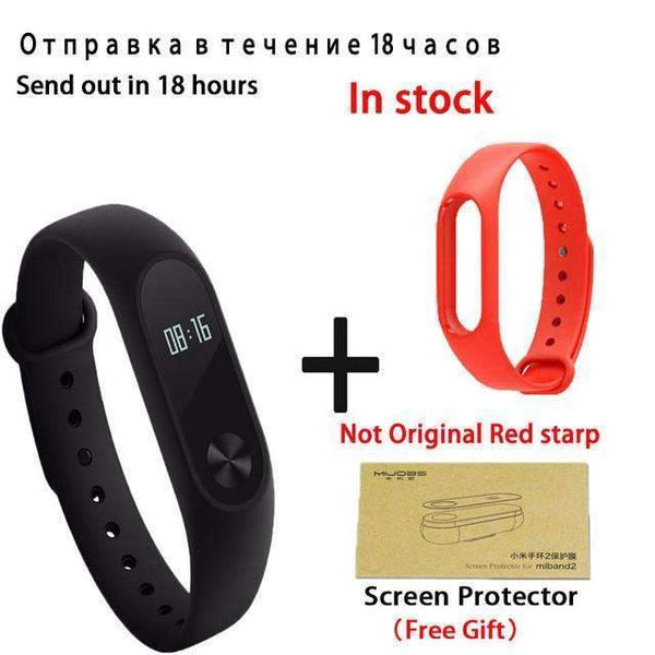 PinKart-USA Online Shopping add red starp Original Xiaomi Mi Band 2 Smart Bracelet Wristband Tracker Fitness Mi Band Oled Touchpad Sleep