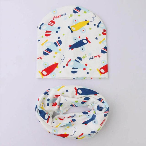 PINkart-USA Online Shopping airplane 1 Set Cotton Baby Hat Scarf Solid Color Children Caps Scarves Autumn Winter Kids Boys Girls O Ring