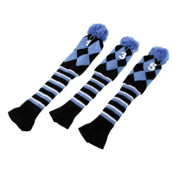 PINkart-USA Online Shopping Amparo Blue Set Of 3 Vintage Golf Knitted Pom Pom Sock Covers 1-3-5 Golf Headcover For Dirver/Fairway Wood Long