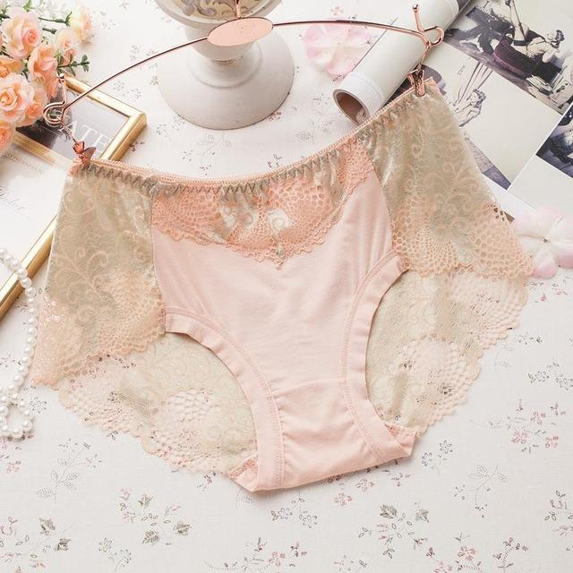 PINkart-USA Online Shopping apricot / L Women Underwear Briefs Best Quality Women'S Panties Full Transparent Lace Seamless String Plus Size
