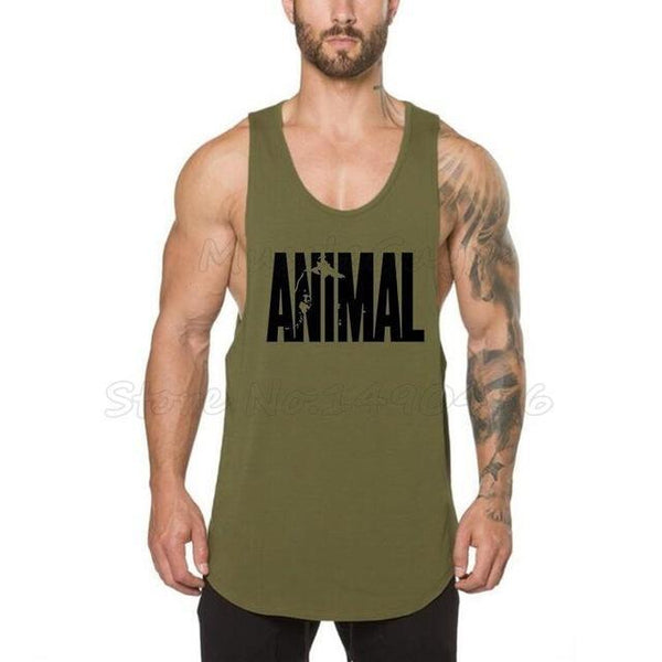 PINkart-USA Online Shopping Army Green / L Brand Clothing Fitness Tank Tops Men Stringer Singlet Animal Printed Bodybuilding Muscle Shirt