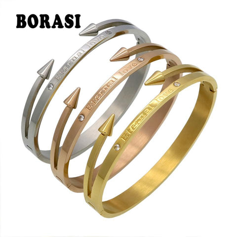 "New Arrival Brand Conical Arrows Cubic Zirconia Stone Bracelets & Bangles Gold Color ""Eternal love"" Online Shopping PINkart.in"