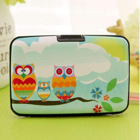 PinKart-USA Online Shopping Arrival Owl Plastic Box Design Card Holder Credit / Bank Card Case Wallet 7 Pockets