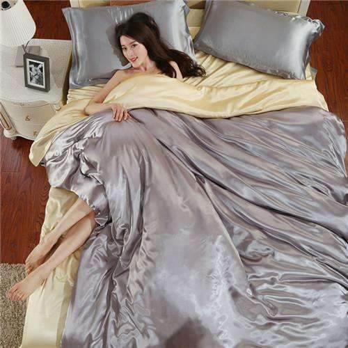 PinKart-USA Online Shopping AS 12 / King Home Textile Solid Silk Satin 3/4Pcs Queen/King Size Luxury Bedding Sets Bedclothes Bed Linen