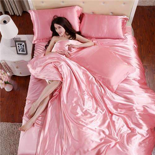 PinKart-USA Online Shopping AS 13 / King Home Textile Solid Silk Satin 3/4Pcs Queen/King Size Luxury Bedding Sets Bedclothes Bed Linen