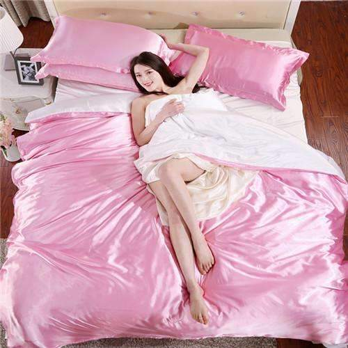 PinKart-USA Online Shopping AS 2 / King Home Textile Solid Silk Satin 3/4Pcs Queen/King Size Luxury Bedding Sets Bedclothes Bed Linen