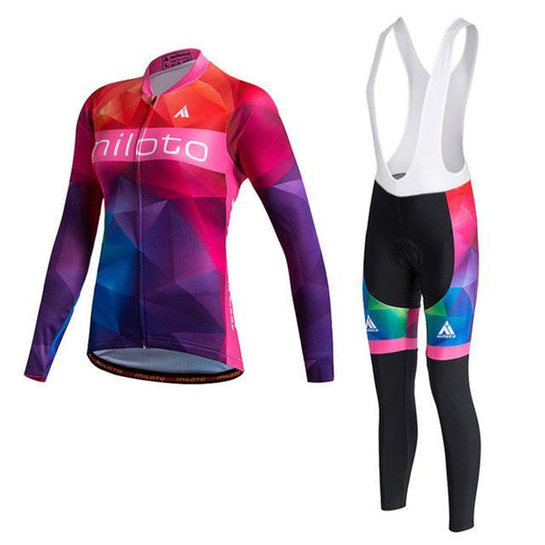 PINkart-USA Online Shopping As Picture 1 / L Miloto Pro Women Cycling Jersey Sets Long Sleeve Mtb Bike Wear Clothes Bicycle Jersey Ropa Ciclismo