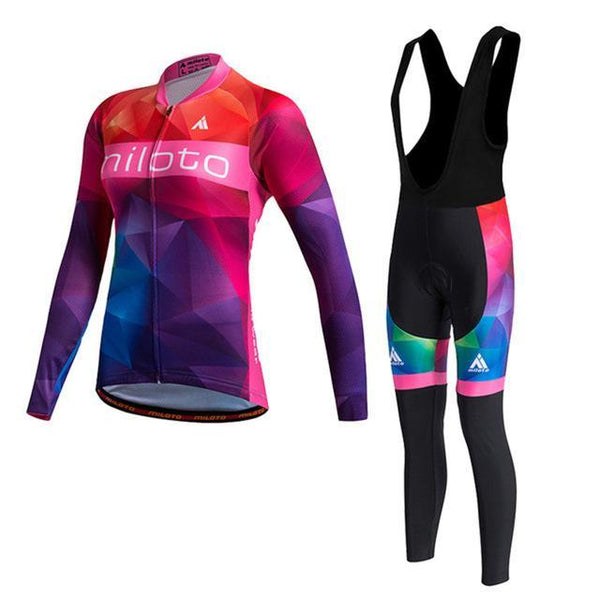 PINkart-USA Online Shopping As Picture 2 / L Miloto Pro Women Cycling Jersey Sets Long Sleeve Mtb Bike Wear Clothes Bicycle Jersey Ropa Ciclismo