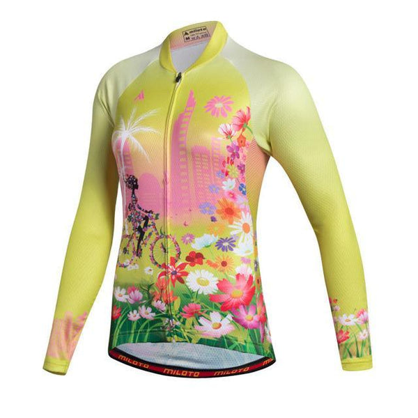 PINkart-USA Online Shopping As Picture 2 / L Miloto Team Long Sleeve Cycling Jersey Women Autumn Reflective Cycling Clothing Mtb Road Bicycle