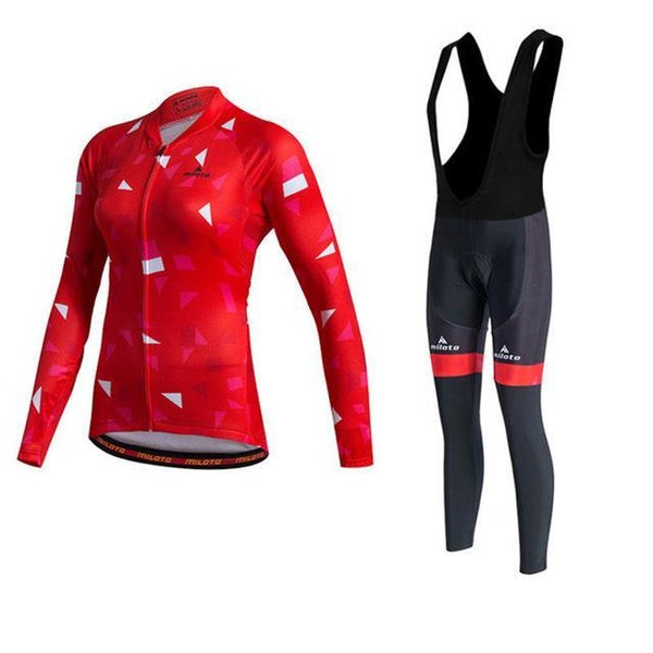 PINkart-USA Online Shopping As Picture 2 / XL Miloto Pro Team Women Long Sleeve Cycling Jersey Sets Racing Sport Bike Jersey Mtb Road