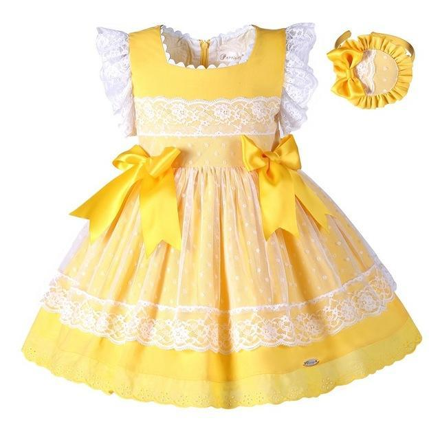PINkart-USA Online Shopping as picture / 2T Pettigirl Girls Easter Dress Summer Yellow Cotton Kids Dress With Headwear Clothes G-Dmgd101-B171