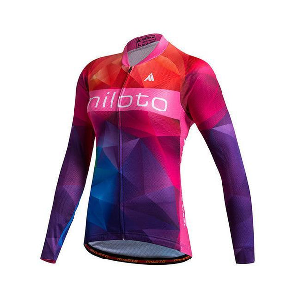 PINkart-USA Online Shopping As Picture 3 / L Miloto Team Long Sleeve Cycling Jersey Women Autumn Reflective Cycling Clothing Mtb Road Bicycle