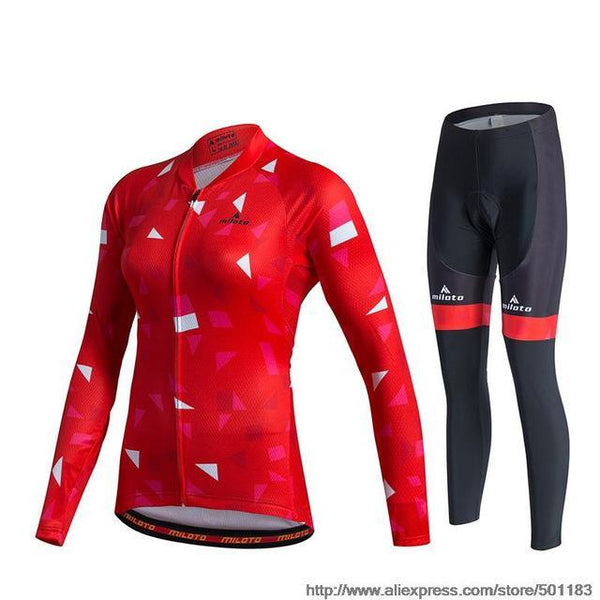 PINkart-USA Online Shopping As Picture 4 / XL Miloto Pro Team Women Long Sleeve Cycling Jersey Sets Racing Sport Bike Jersey Mtb Road