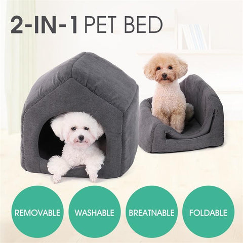 PINkart-USA Online Shopping as picture / L / China 2 Ways To Use Dog House Bed For Small Medium Dog Winter Warm Soft Pet Bed Cat Dog Non-Slip Puppy
