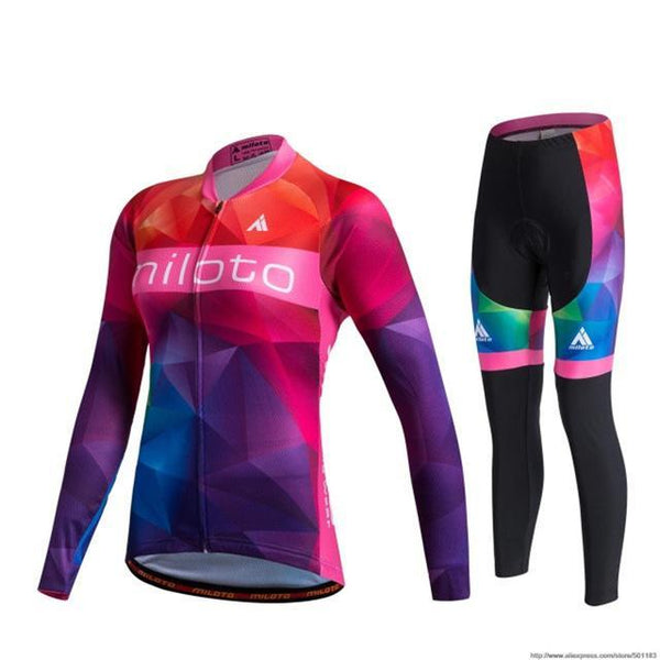 PINkart-USA Online Shopping As Picture / L Miloto Pro Women Cycling Jersey Sets Long Sleeve Mtb Bike Wear Clothes Bicycle Jersey Ropa Ciclismo