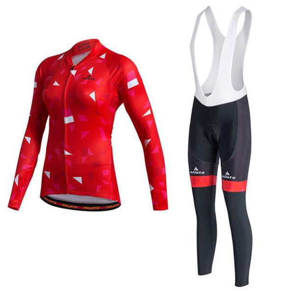 PINkart-USA Online Shopping As Picture / XL Miloto Pro Team Women Long Sleeve Cycling Jersey Sets Racing Sport Bike Jersey Mtb Road