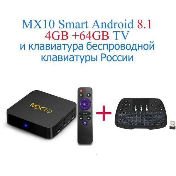 PINkart-USA Online Shopping AU Plug / 4G64G RU-Keyboard Mx10 Android Tv Box Rk3328 4K Tv Box Android 8.1 Usb3.0 4Gb 32Gb 64Gb Miracast Airplay Wifi Hd