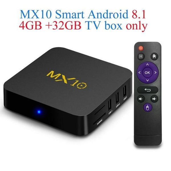 PINkart-USA Online Shopping AU Plug / Only 4G 32G TV Box Mx10 Android Tv Box Rk3328 4K Tv Box Android 8.1 Usb3.0 4Gb 32Gb 64Gb Miracast Airplay Wifi Hd