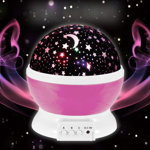 PINkart-USA Online Shopping Auto-Rotating Romantic Cosmos Star Starry Sky Moon Projector Lamp Battery Usb Led Night Light