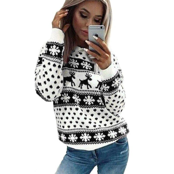 PINkart-USA Online Shopping Autumn Knitted Sweater Winter Christmas Sweaters Warm Pullover Christmas Plaid Ladies Female