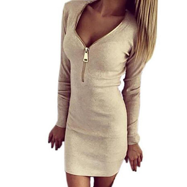 PINkart-USA Online Shopping Autumn Winter Women Mini Dresses Stretch Zipper Bodycon Dress Long Sleeve V-Neck Knit Dress Party