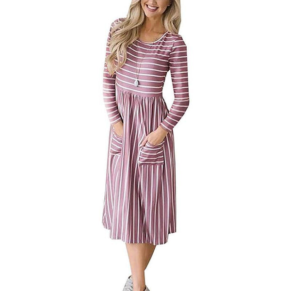 PINkart-USA Online Shopping Autumn Women Dress Casual Long Sleeve Striped Midi Dress Elegant Ladies Loose Straight Dresses With
