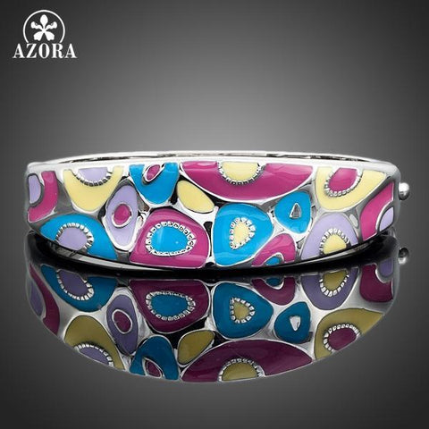 PINkart-USA Online Shopping Azora White Gold Color Multicolour Enamel Fashion Bangle Bracelet Tb0003