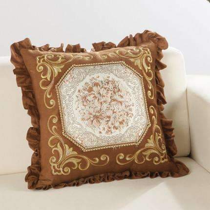 PinKart-USA Online Shopping B / 45x45m only cover Luxurious Embroidery Velour Home Decor Cushion Decoration Lace Pillow / European Velvet Sofa