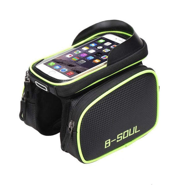 PINkart-USA Online Shopping B-Soul Waterproof Bicycle Frame Front Bag Touch Screen Head Top Tube Double Pouch Bike Bag 6.2 Inch