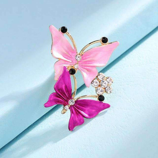 PinKart-USA Online Shopping B43F 3 Colors Elegant Charm Female Multilayer Enamel Rhinestone Double Butterfly Dancing Brooches Pin Fo