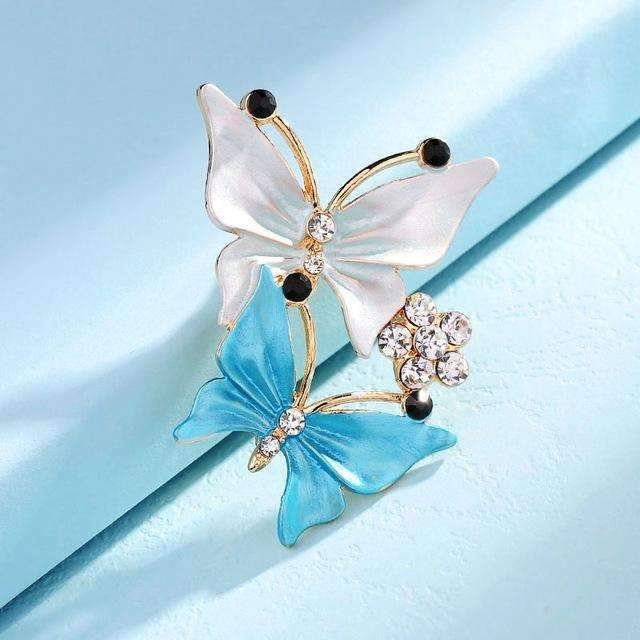 PinKart-USA Online Shopping B43L 3 Colors Elegant Charm Female Multilayer Enamel Rhinestone Double Butterfly Dancing Brooches Pin Fo