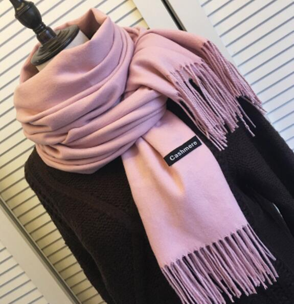 PinKart-USA Online Shopping baby pink 200Cmx70Cm Winter Oversize Scarves Simple Fashion Warm Blanket Unisex Solid Wraps Cashmere Scarf