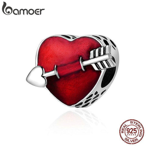 PINkart-USA Online Shopping Bamoer 100% 925 Sterling Silver First Love Engrave Arrow Heart Charm Beads Fit Charm Bracelet