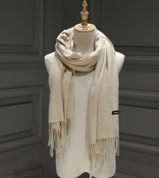 PinKart-USA Online Shopping Beige 200Cmx70Cm Winter Oversize Scarves Simple Fashion Warm Blanket Unisex Solid Wraps Cashmere Scarf