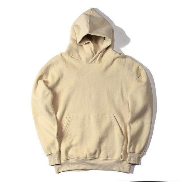 PinKart-USA Online Shopping Beige / L Man Si Tun Streetwear Pullovers Drake Kanye West Plain Fleece Oversized Hoodie Kpop Clothes