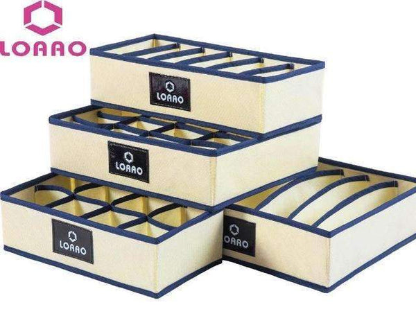 PinKart-USA Online Shopping Beige Loaao 4 In 1 Per Set Foldable Storage Box Home Organizer Box Bins Bra Underwear Necktie Socks