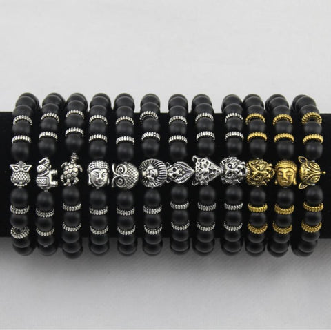 Best- Matt Stone Bracelet, Buddha Head, Elephant, Leopard Head, Lion Head, Owl Turtle