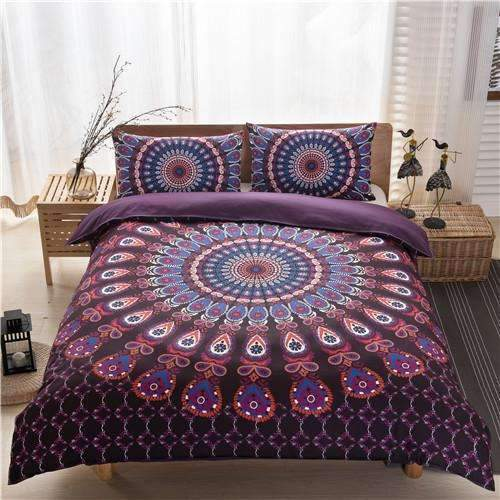 PinKart-USA Online Shopping bhpurple / Duvet Cover 200x230 Bohemian Bedding Sets Mandala Printing Black White Boho Single Double Queen King Size Duvet Cover